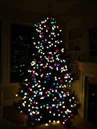 tree with white and colored lights merry and