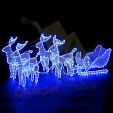 2m x 63cm 4 acrylic reindeer sleigh decoration indoor