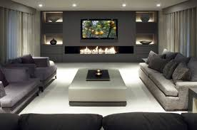 Contemporary Electric Fireplace For Modern Family Room Layout - Modern family room