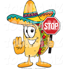 cartoon sombrero vector illustration of a cartoon taco mascot holding a stop sign