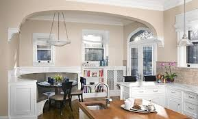 White Breakfast Nook Dinning Rooms Stylish Kitchen With Black Island Also White