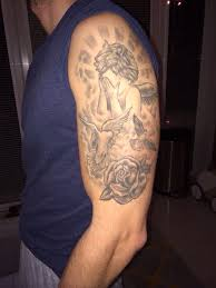 half sleeve with clouds and doves rip
