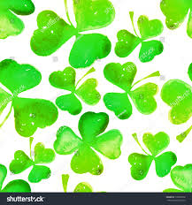 seamless irish shamrock watercolour pattern on stock illustration
