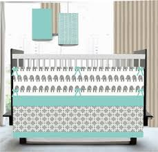 ikat chevron elephant aqua grey crib bedding baby begeman