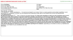 campaign manager cover letter