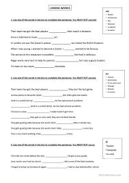 connectives 2 worksheet free esl printable worksheets made by