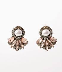 post style earrings vintage style ivory pearl multicolor rhinestone post