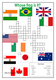 Unjumble Words Worksheets Country Flags Crossword Esl Worksheets Of The Day Pinterest