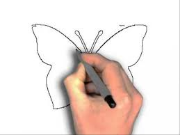 how to draw butterfly outline youtube