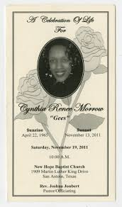Funeral Pamphlet Ideas Funeral Program For Cynthia Renee Morrow November 19 2011 The