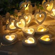 christmas garland battery operated led lights 10led fairy white wood hollow heart battery operated string lights