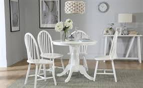 kingston round white dining table with 4 windsor chairs only