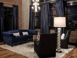 Bedroom Curtain Design And Exposed by Navy Blue Curtains And Sofa Combine With Black Leather Chairs To