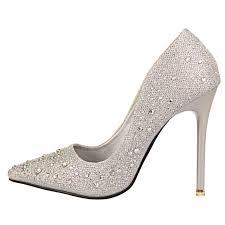 new fashion women silver rhinestone wedding shoes platform