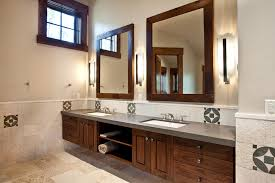 bathroom cabinets with lights and shaver socket with rustic wood
