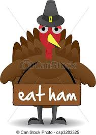 clipart vector of unhappy thanksgiving turkey bird stands alone