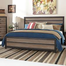 rustic king panel bed with two tone plank look by signature design