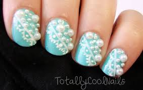 Nail Art Lace Design Blue Nails With White Lace And Pearls Design Nail Art With