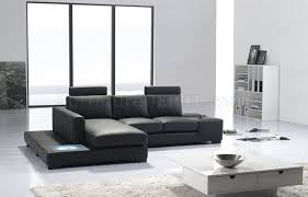 What Is Sectional Sofa T35 Mini Sectional Sofa In Black Eco Leather W Light