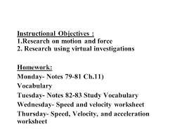 instructional objectives 1 research on motion and force 2