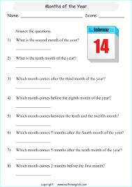 grade 2 math questions based on the months of the year and ordinal