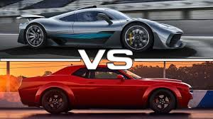 2018 mercedes amg project one vs 2018 dodge challenger srt demon