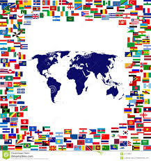Framed Map Of The World by World Map Framed By World Flags Stock Image Image 23734831