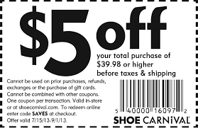 shoe carnival is offering a coupon for 5 your next purchase