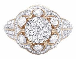 flower engagement rings 14k gold genuine diamond cluster flower engagement ring 1 9 10 ct