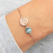 birthstone bracelets for personalised initial disc birthstone bracelet by bloom boutique