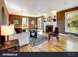 Livingroom Interior Design by Classic Brown White Living Room Interior Stock Photo 103884698