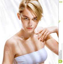 Beautiful Appearance Beautiful Blonde Of European Appearance On Background With