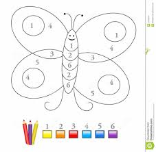 coloring pages color by number game with cute butterfly sketch