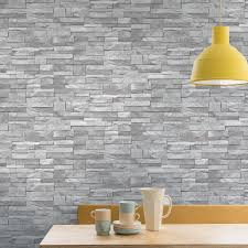 light grey brick tiles grandeco stone brick effect light grey wallpaper a17202