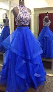 blue dresses royal blue two prom dresses beaded bodice tulle skirt sweet