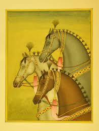 miniature art on postcard rajasthan miniature painting three