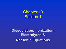 chapter 13 section 1 dissociation ionization electrolytes u0026 net