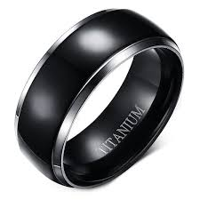 black titanium rings men s jewelry black one size stylish silver edge black plating