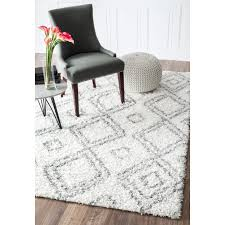 Gray Moroccan Rug Nuloom Alexa My Soft And Plush Moroccan Trellis White Grey Easy