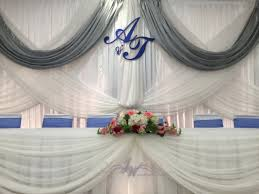 wedding backdrop initials royalblue silver wedding backdrop initials chairbow