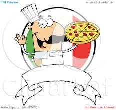 royalty free rf clipart illustration of a male chef holding up a