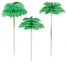 12 honeycomb palm tree food picks cocktail sticks hawaiian