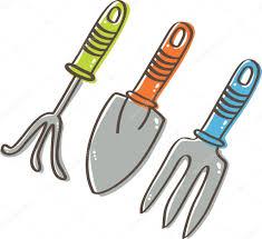 gardening tools cultivator trowel weed fork u2014 stock vector