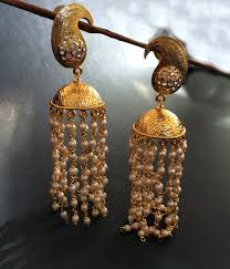 gold jhumka earrings gold jhumkas brushed gold pearl jhumka earringslong