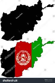 Black And Red Flag Country Highly Detailed Country Silhouette Flag Afghanistan Stock Vector