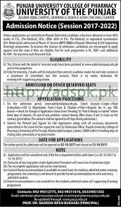 punjab university college of pharmacy admissions open pharm d 2017
