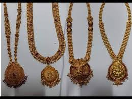 vintage long gold necklace images Latest antique gold long haram designs with weight 100 grams jpg