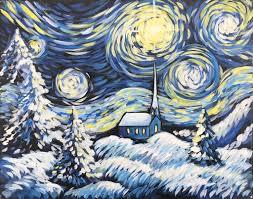 starry christmas night lakehouse lake villa art rave inc