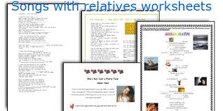english teaching worksheets songs with relatives