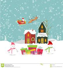 Christmas House by Merry Christmas Card With Santa Claus Snowman Gift And Christmas